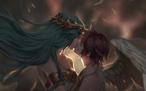 Картинка крылья, поцелуй, ангел, фэнтези, арт, пара, Pit, Chuby Mi