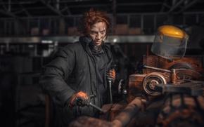 Картинка девушка, рабочая, токарный станок, Chakhvadze, Bessarion