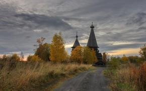Картинка осень, вечер, деревня, церковь, Ленинградская область, Гимрека