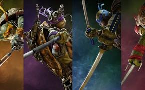 Обои четверо, Teenage Mutant Ninja Turtles: Out of the Shadows, фэнтези, черепашки-ниндзя, Леонардо, Донателло, коллаж, Donatello, ...