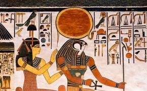 Обои стена, Египет, древность, Иероглифы