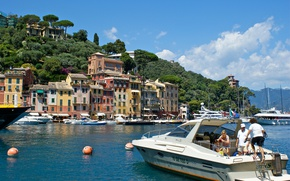Картинка лодка, дома, яхта, Италия, залив, гавань, Портофино, Лигурия
