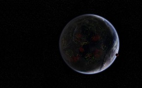Картинка космос, фантастика, планета, спутник, арт, Coruscant, Serban Gabriel