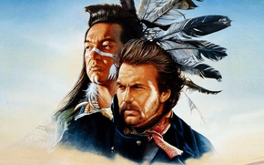 Обои soldier, Kevin Costner, Graham Greene, native american, lieutenant of the cavalry, lieutenant Dunbar, Kicking Bird, ...