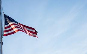 Картинка небо, флаг, USA
