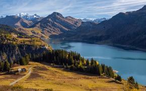Картинка Франция, Природа, Горы, Озеро, Деревья, Пейзаж, Le Monal