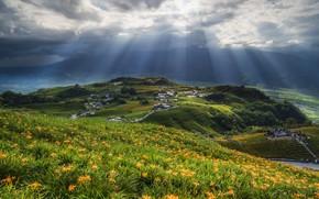 Картинка облака, пейзаж, цветы, природа, лилии, солнечные лучи