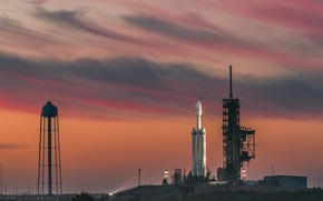 Обои USA, evening, sky, rocket, Florida, Cape Canaveral, twilight, Falcon Heavy, sunset, SpaceX, launch pads, clouds, ...