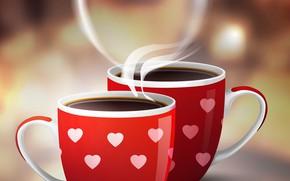 Картинка сердце, кофе, пар, чашки, Valentine's Day, coffee