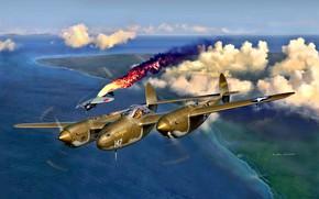Картинка Mitsubishi, Lightning, Lockheed, USAF, Вторая Мировая война, P-38, A6M, Reisen, P-38G, WWII, Тихоокеанский театр военных ...