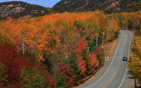 Картинка дорога, авто, осень, лес, солнце, деревья, горы, шоссе, США, вид сверху, Acadia National Park