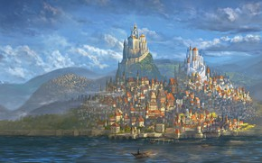 Обои City, World, Fantasy, Art, Fantastic, Castle, Paint, Medieval, DeviantArt, Town, Painting, Architectural, Castles, Middle age
