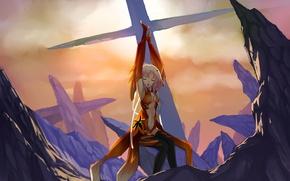 Картинка скалы, крест, чулки, розовые волосы, Guilty Crown, закрытые глаза, Yuzuriha Inori, острые, руки вверх, Корона …