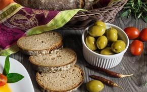 Картинка хлеб, помидоры, оливки