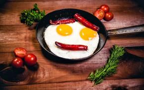 Картинка зелень, креатив, стол, яйца, смайл, перец, яичница, помидоры, сковородка
