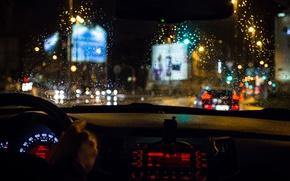 Обои руль, приборы, салон, размытость, боке, wallpaper., выдержка, автомобиль, движение, трафик, свет, подсветка, макро, капли, feel ...