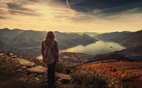 Картинка горы, вид, высота, девочка, Cardada