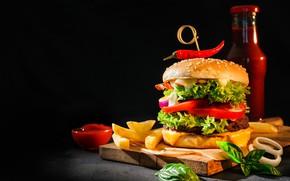 Картинка картофель фри, еда, гамбургер, разделочная доска, кетчуп