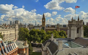 Картинка Англия, Лондон, башня, дома, панорама, колесо обозрения