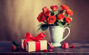 Картинка любовь, цветы, подарок, розы, букет, красные, red, love, wood, flowers, romantic, Valentine's Day, gift, roses