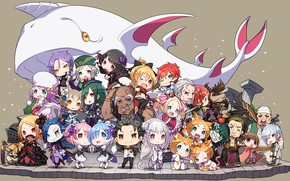 Картинка аниме, арт, кит, малыши, чиби, персонажи, Re: Zero kara Hajimeru Isekai Seikatsu, С нуля