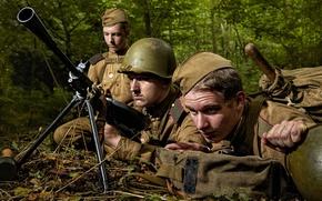 Обои Гвардия, амуниция, Вторая мировая, снаряжение, русские, ДП, пулемёт, ВОВ, солдаты, советские