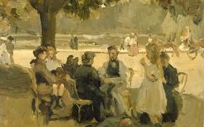Картинка масло, картина, В Булонском Лесу в Париже, Исаак Исраэлс