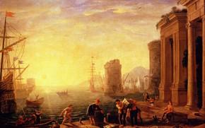 Картинка картина, городской пейзаж, Claude Lorrain, Клод Лоррен, Утро в Гавани, Клод Желле