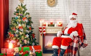 Картинка украшения, праздник, шапка, игрушки, часы, интерьер, сапоги, свечи, очки, Рождество, подарки, Новый год, занавески, перчатки, …