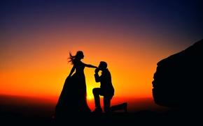 Картинка девушка, закат, поцелуй, мужчина, силуэты, влюблённая пара