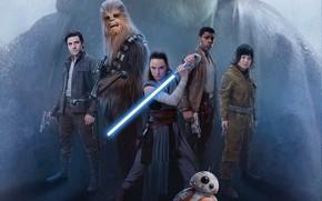 Обои оружие, постер, Дэйзи Ридли, Джон Бойега, Oscar Isaac, Star Wars: The Last Jedi, Оскар Айзек, ...