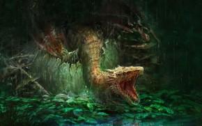 Картинка дракон, фэнтези, арт, Mom, Trung Tin Shinji, I'm Hungry!
