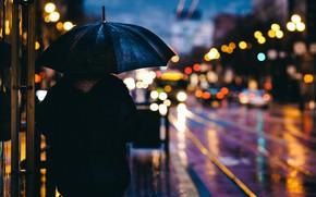 Обои машины, зонт, дождь, город, огни, улица, вечер, боке, блур