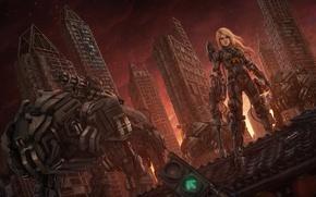 Картинка девушка, город, дом, фантастика, робот, небоскреб, арт, блондинка, Aeon