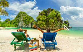 Картинка природа, скала, отдых, остров, кресла, islands