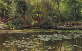 Картинка 1920, датский живописец, Петер Мёрк Мёнстед, Peder Mørk Mønsted, Danish realist painter, Кувшинки на пруду, …