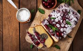 Картинка ягоды, сладость, выпечка, сахарная пудра, Пирог
