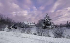 Картинка зима, дом, трактор