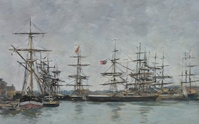 Обои Эжен Буден, картина, Eugene Boudin, корабли, Довиль