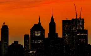Картинка небоскреб, дома, Нью-Йорк, силуэт, США, Манхэттен