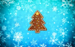Картинка Зима, Минимализм, Снег, Рождество, Снежинки, Фон, Новый год, Елка, Праздник, Ёлка, Печенька