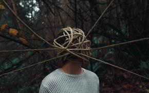 Обои фон, верёвки, человек