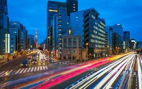 Картинка город, движение, дома, улицы