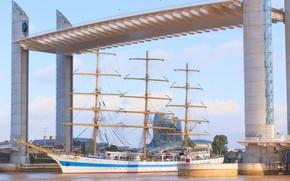 Картинка мост, корабль, парусник