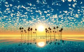 Обои закат, солнце, остров, отражение, вода, пальмы