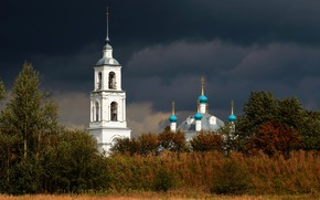 Картинка тучи, церковь, храм, Переславль Залесский