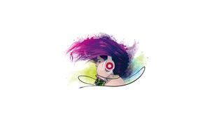 Картинка девушка, лицо, стиль, музыка, волосы, наушники