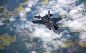 Обои F-35B, полет, ландшафт