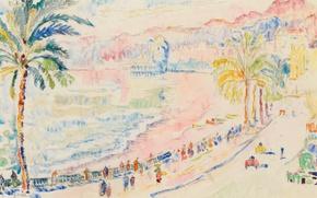 Картинка город, пальма, рисунок, акварель, Поль Синьяк, Ница. Прогулка по Английской Набережной