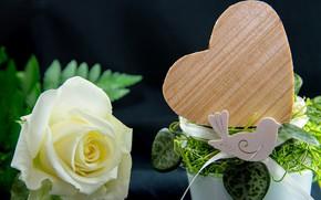Картинка Роза, Цветок, Бутон, Птичка, Сердечко
